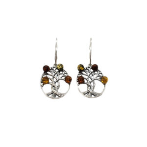 Amber Celtic Tree of Life Earrings