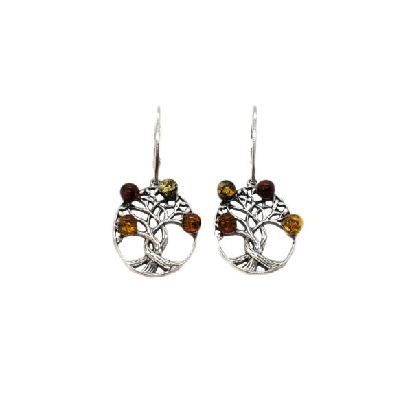 Amber Celtic Tree of Life Earrings
