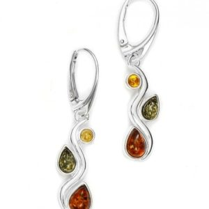 Multicolor Amber /.925 Silver Earrings
