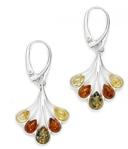 Multi color Amber Silver Earrings