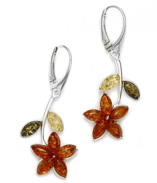 Flower Multi color Amber Earrings