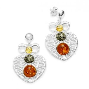 Amber /Filigree Silver Post Dangle Earrings
