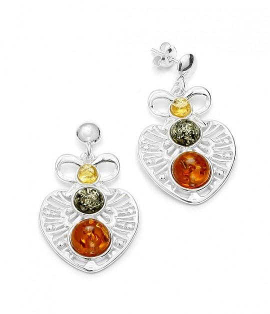 Amber /Filigree Silver Post Dangle Earrings