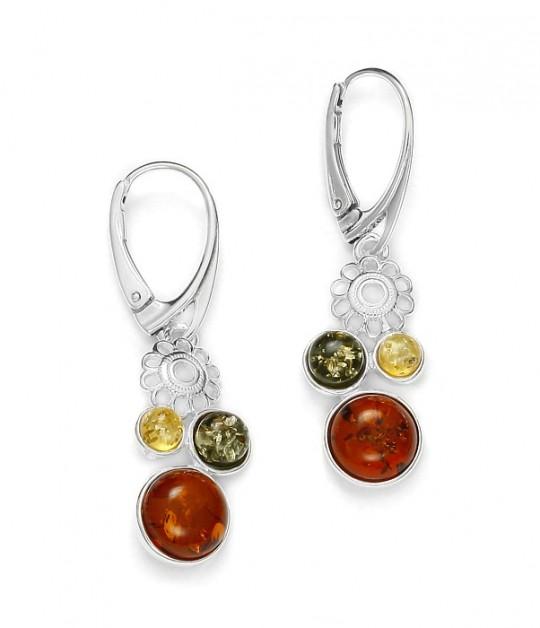 Multicolor Amber .925 Silver Earrings