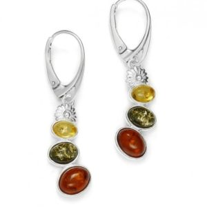 Multicolor Amber Earrings on Hooks