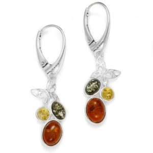 Multicolor Amber / Sterling Silver Earrings