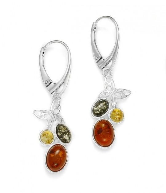 Multicolor Amber / Sterling Silver Earrings