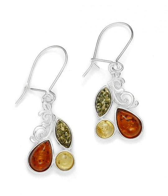 Multicolor Amber Sterling Silver Earrings