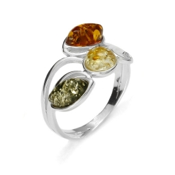 Multi color Amber /Silver Ring