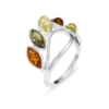 Multi Color Amber /925 Silver Ring