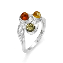 Amber /Filigree Silver Ring