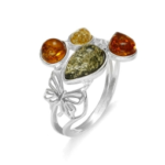 Amber Ring with Silver Butterfly