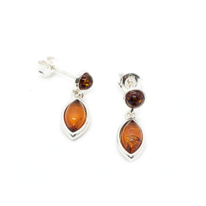 Cognac Amber Marquise Post Dangle Earrings