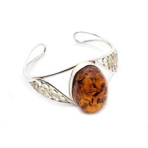 Cognac Amber Sterling Silver Cuff Bracelet