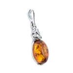 Baltic Amber Oxidized Silver Pendant