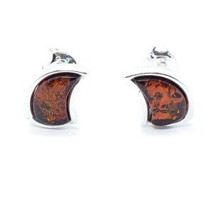 Dark Cognac Amber Stud Earrings