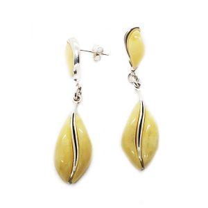 Butterscotch Amber Coffee Bean Design Earrings