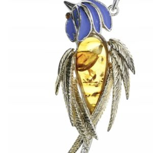 Parrot Amber Pendant With 14 K Gold Plate Silver /Enamel