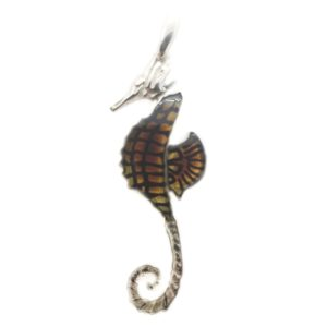 Carved Amber Burned Laser Design Seahorse Pendant
