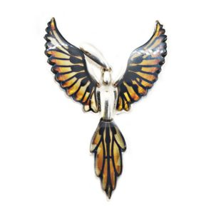 Carved Amber Phoenix Burned Laser Design Pendant