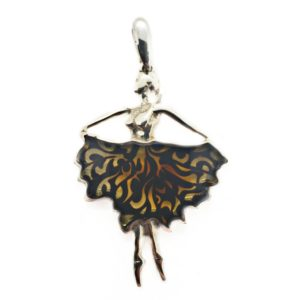 Small Laser Carved Burned Amber Ballerina Design Pendant