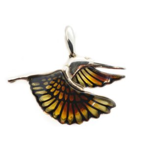 Small Carved Amber Burned Laser Design Bird Pendant