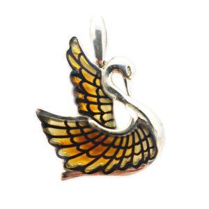 Large Carved Amber Burned Laser Design Swan Pendant