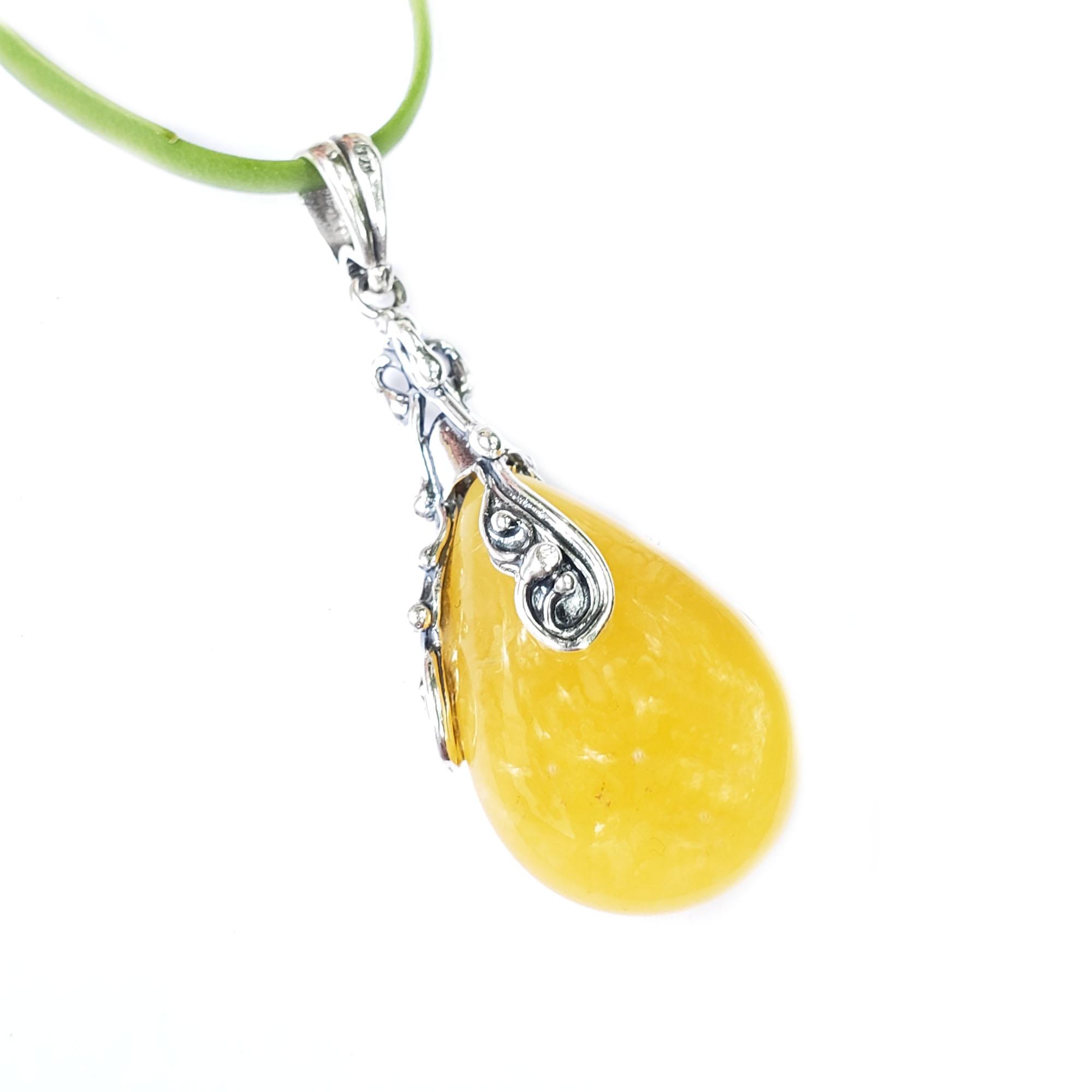 Butterscotch Amber Teardrop Antique Design Pendant
