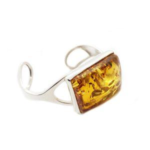Baltic Amber /925 Silver Open Cuff Bracelet