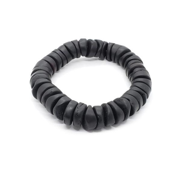 Natural Black Amber Matte Finish Unisex Bracelet