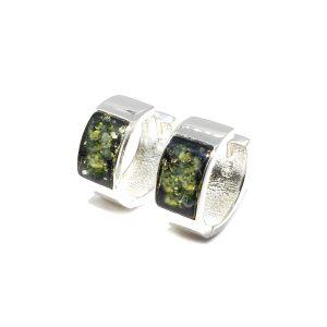 Modern Green Amber Hoop Earrings