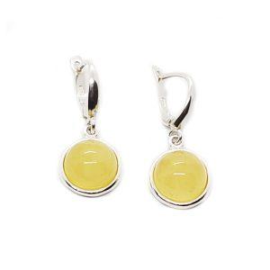 Butterscotch Amber Round Dangle Hook Earrings