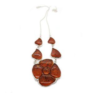Dark Cognac Amber Flower Necklace