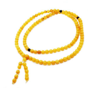 Antique Color Amber Buddhist Mala Rosary Prayer 108 Beads