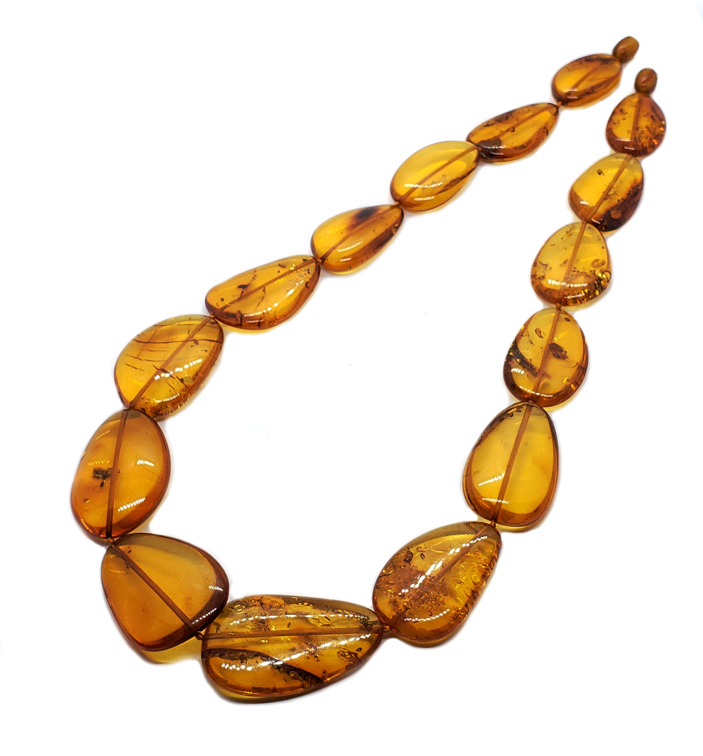 Cognac Amber Flat Olive Shaped Beads 17 inches Long