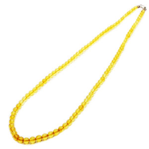 Citrine/Lemon Amber Round Shaped Beaded Necklace/Pendant Chain