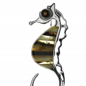Seahorse Pendant, Butterscotch and Dark Cognac Amber