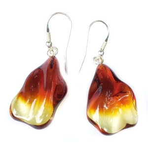 Amber Freeform Ombre Fired Drop Earrings