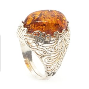 Cognac Amber Filigree Silver Adjustable Ring