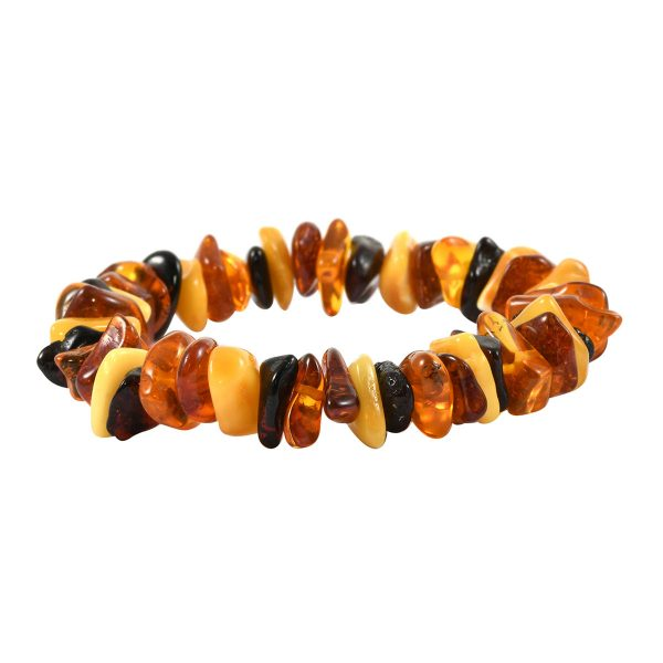 Small Multi Color Raw Amber Stretch Bracelet