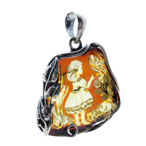 Alice In Wonderland Theme Cameo Amber Pendant