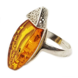 Cognac Amber Sterling Silver Marquise Shape Ring
