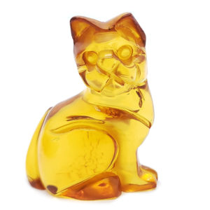 Cognac Amber Carved Cat
