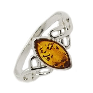 Celtic Cognac Amber Sterling Silver Ring
