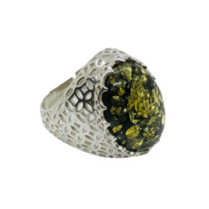 Oval Green Amber Filigree Silver Adjustable Ring