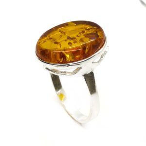 Oval Shape Cognac Amber .925 Silver Ring