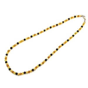 Multi Color Amber Round Shaped Bead Necklace/Pendant Chain. Amber beads  diameter is 5-5.5mm. 19 inches long necklace. Perfect to use as a chain for pendants.