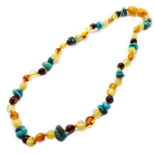 Multi Color Amber With Turquoise Necklace For Kids