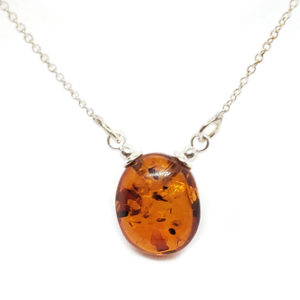 Cognac Amber .925 Silver Necklace