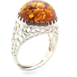 Round Cognac Amber 925 Silver Adjustable Ring
